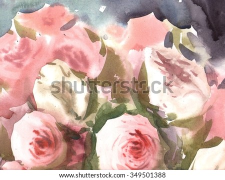 watercolor illustration with peonies