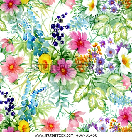 Watercolor illustration with wild berries branches, leaves and blooming flowers, seamless pattern on white background