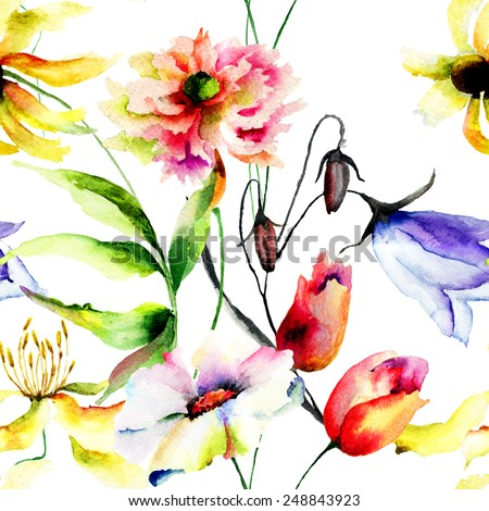 Watercolor illustration with wild flowers, seamless pattern