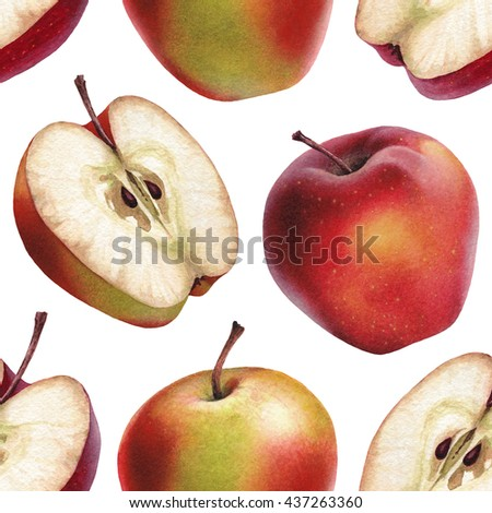 Watercolor illustrations of apples. Seamless pattern
