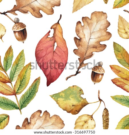 Watercolor illustrations of leaves. Seaamless pattern - stock photo