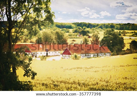 Watercolor image of a swedish countryside farmhouse.  - stock photo