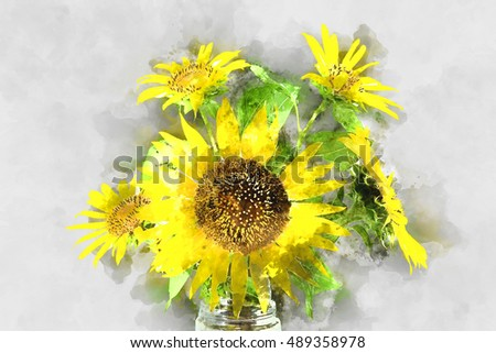 Watercolor image of Bright yellow sunflowers.