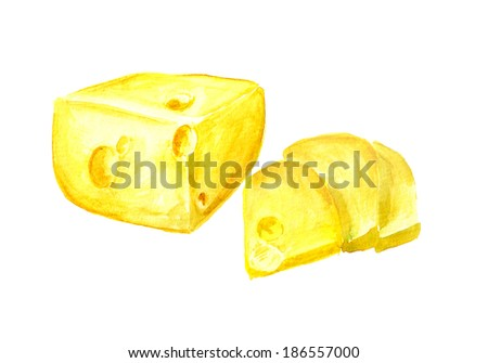 Watercolor image of cheese on white background - stock photo