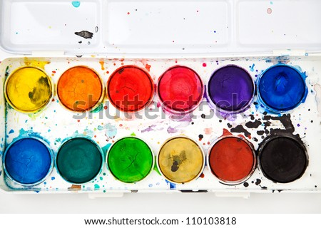 Watercolor in a box. - stock photo