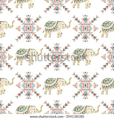Watercolor indian elephant with tribal ornament elements. Ornate elephant seamless pattern on white background in bohemian style. Hand drawn illustration for design in tribal or boho styles - stock photo