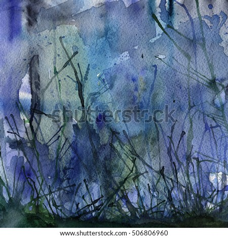 Watercolor, ink abstract background in blue colors.