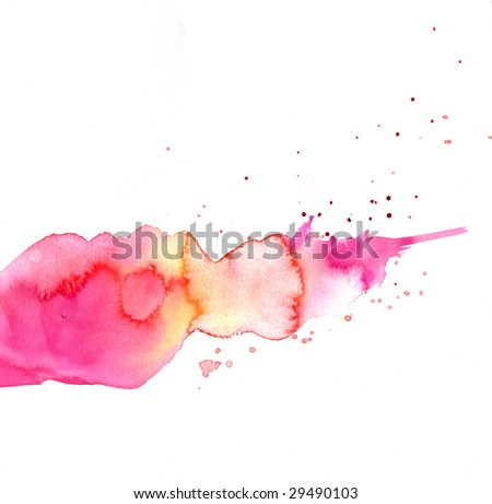 Watercolor Ink background in rose color with drips and splatters - stock photo