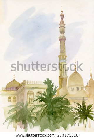 Watercolor islamic mosque painting - stock photo