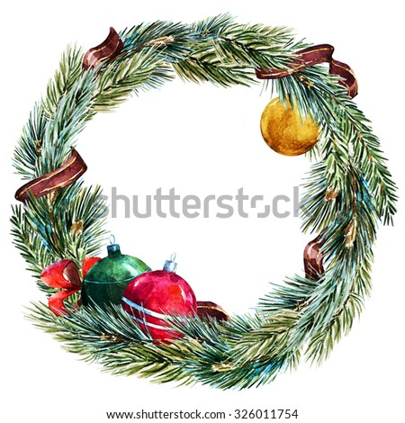 watercolor isolated Christmas wreath, fir, Christmas balls, ribbon, round frame - stock photo