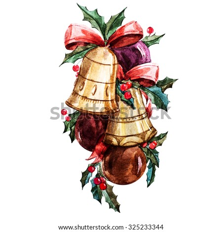 Watercolor isolated illustration of Christmas decorations, holly, bells and balls, holiday decor, holiday Christmas - stock photo
