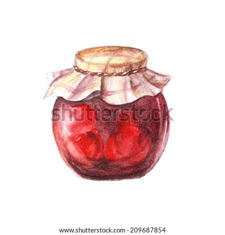 Watercolor Jam Jar