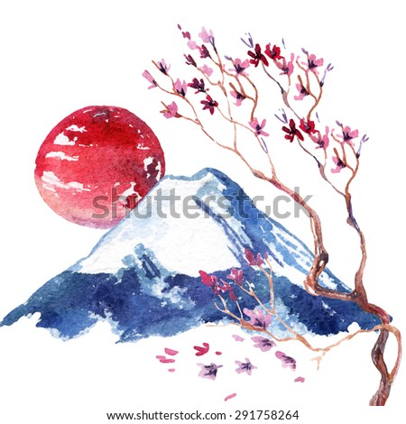 Watercolor japanese cherry blossom. Hand painted sakura flowers on fuji mountain background.  - stock photo