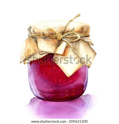 watercolor jar with a red berries jam - stock photo