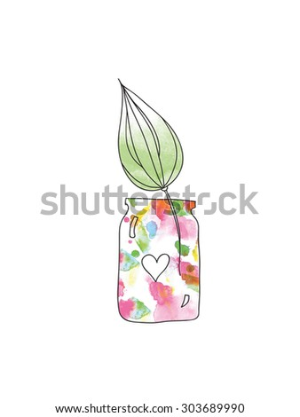 watercolor jar with  watercolor leaf