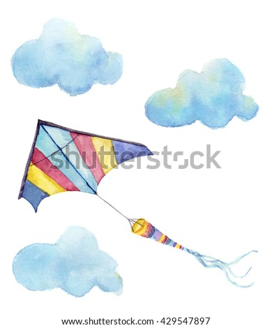 Watercolor kite air set. Hand drawn vintage kite with clouds and retro design. Illustrations isolated on white background