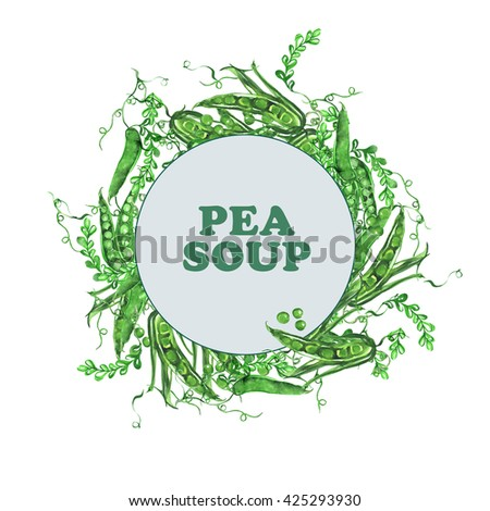 Watercolor Label for pea soup