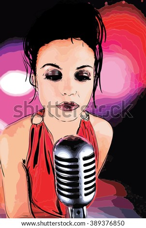 Watercolor lady singer