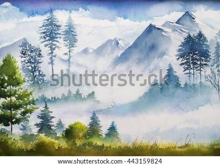 Watercolor landscape.  - stock photo