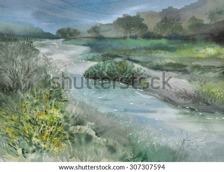 Watercolor landscape. Gorgeous evening on the forest lake original painting - stock photo