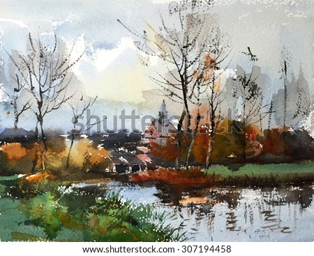 watercolor landscape hand drawn on paper