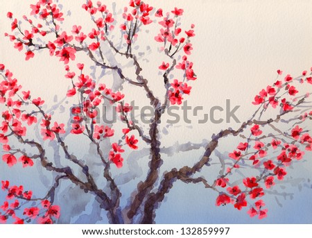 Watercolor landscape in Chinese style. The bright red flowers bloom in spring on old tree