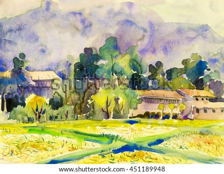 Watercolor landscape original painting colorful of mountain and rice field with wooden house in green tree and cloud background