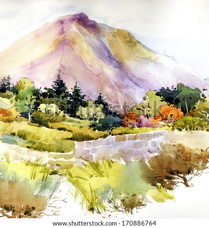 Watercolor landscape painting - stock photo