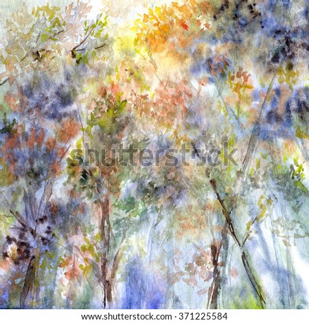 Watercolor landscape. Spring. Painting forest.  - stock photo