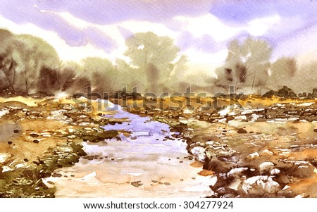 Watercolor landscape  the forest lake original painting - stock photo