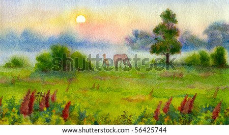 Watercolor landscape. The little colt surprise encounters a new miracle birth of a summer day - stock photo