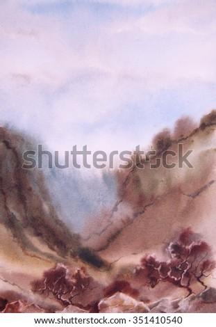 Watercolor landscape. Tree, ravine, slope, mountains, bush - stock photo