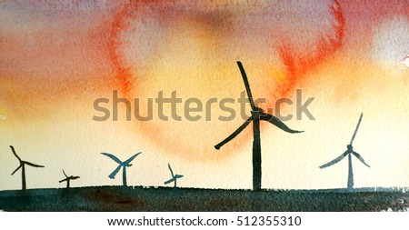 watercolor landscape with colorful sky and wind turbines