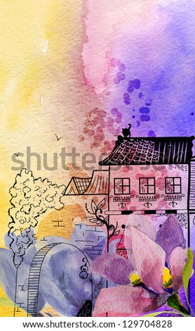 Watercolor landscape with flower dream herb. Graphic building on gradient background