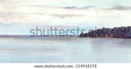Watercolor landscape with lake and islands - stock photo