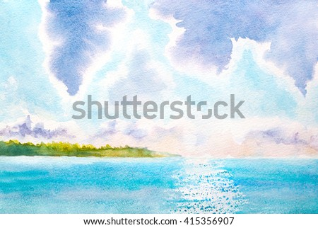 watercolor landscape with lake, sunlight, clouds