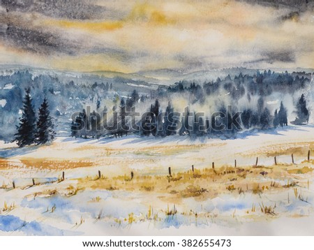 Watercolor landscape with mist and rising sun.