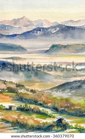 Watercolor landscape with mist and rising sun, hills and river.