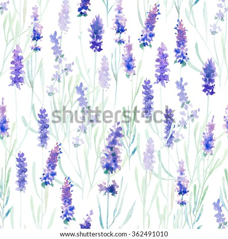 Watercolor lavender pattern and seamless background. Ideal for printing onto fabric and paper or scrap booking. Hand painted. Raster illustration. - stock photo