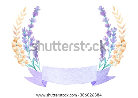 Watercolor Lavender Wreath With Ribbon Hand Painted Provence Herbs Isolated On White Background Floral
