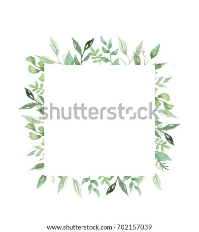 Watercolor leaf frame garland greenery leaves stock for Watercolor greenery