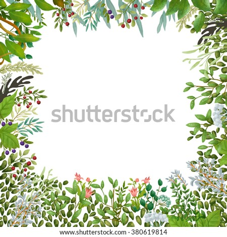 Watercolor leaves and berries wreath. Clipping path included. Fast isolation. Hi-res file. Hand painted. Raster illustration.