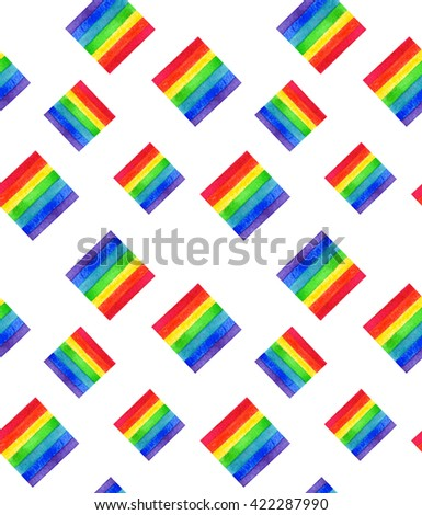 Watercolor LGBT rainbow colors flag seamless pattern Gay Lesbian Bisexual Transgenger love symbol white background - stock photo