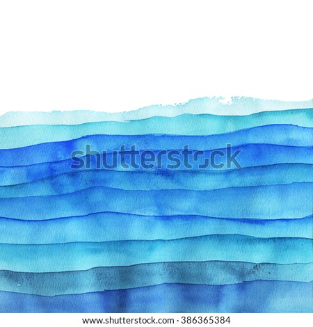Watercolor light blue stripes. Mixed colors green and white. Bright colors. - stock photo
