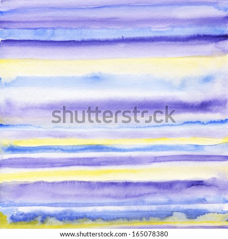 Watercolor light purple stripes. Mixed colors blue and yellow. - stock photo