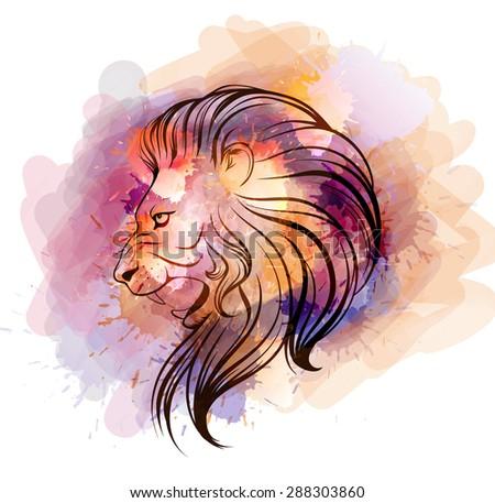 Watercolor lion head - stock photo