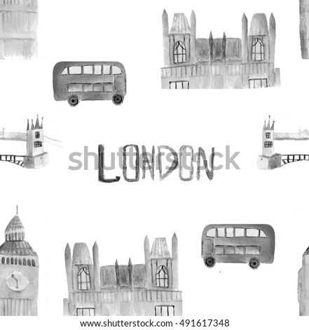 Watercolor London pattern. Hand drawn illustrartion with red bus, Big Ben clock, Houses of parliament, Tower bridge.