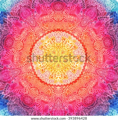 Watercolor mandala. Decor for your design, lace ornament. Round pattern, oriental style
