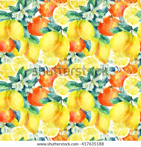 Watercolor mandarine orange and lemon fruit with leaves and blossom seamless pattern. Orange, lemon citrus tree background. Tangerine, lemon, leaf, flower in retro style. Hand painted illustration - stock photo