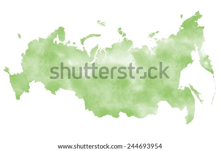 Watercolor map of Russia - stock photo